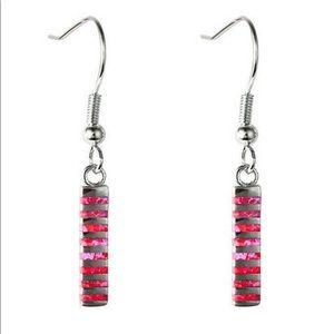 BRAND NEW.925 SILVER PINK/RED FIRE OPAL EARRINGS